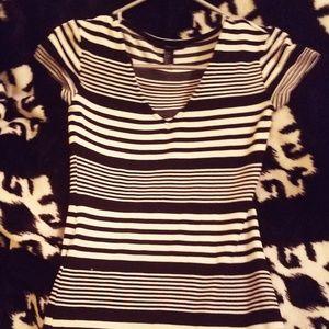 Black and White Striped Bodycon Mini T-Shirt Dress